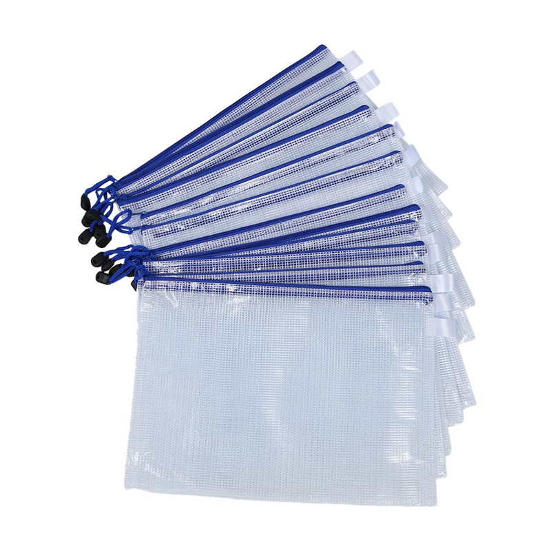 12 Pcs White Plastic Zipper Pen File Document Bags Folders Pockets