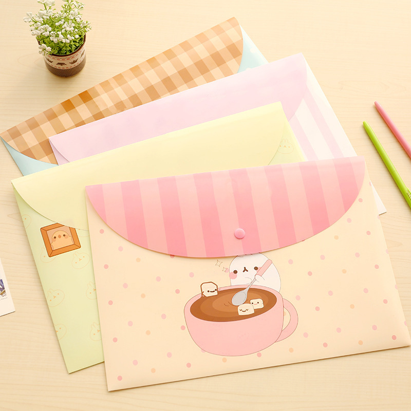 A4 Cute Cartoon Animal File Holder Snap Button PVC Folder Pen Box Office Information Bag 1pcs