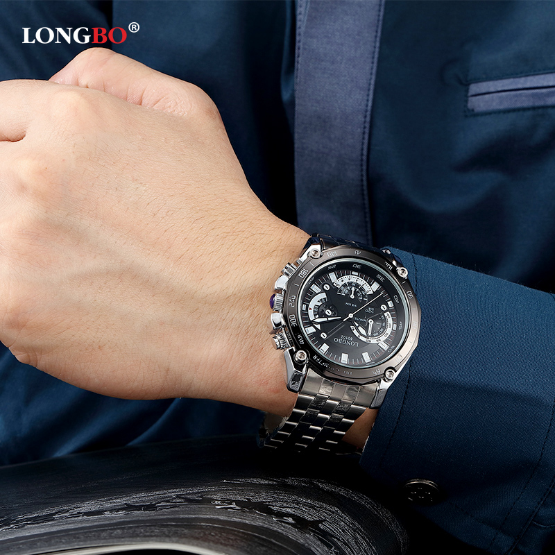 2017 LONGBO Brand Fashion Men's Business Watch Casual Quartz Dress Watches Luxury Calendar Waterproof Wristwatches 80102