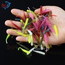 100pcs Pesca Artificial Soft Bait 4cm/0.3g UL Fishing Worm Swimbaits Soft Lure Carp Fishing Bait Fishing Lure Mixed Colors