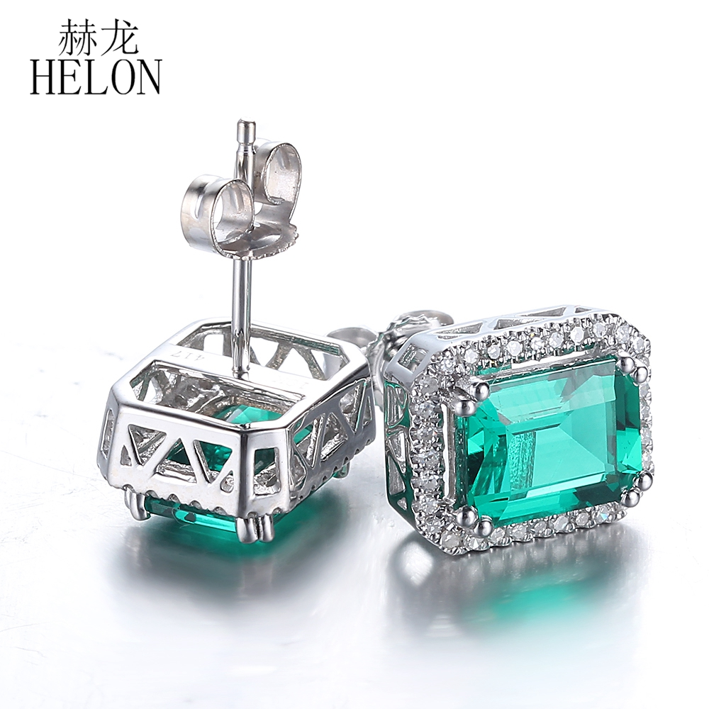 HELON 5x7mm Cushion 2.95ct Treated Emerald Earrings Solid 14K White Gold Natural Diamonds earrings stud earrings For Womens ...