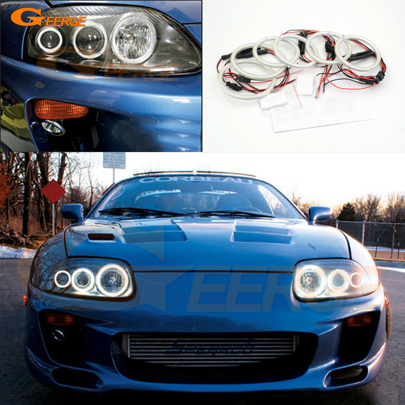 For toyota supra MKIV A80 1993-2002 Excellent 6 pcs smd led Angel Eyes Super bright 3528 SMD led Angel Eyes kit Halo Ring 1993 1998 toyota supra duraflex vader body kit 5 piece