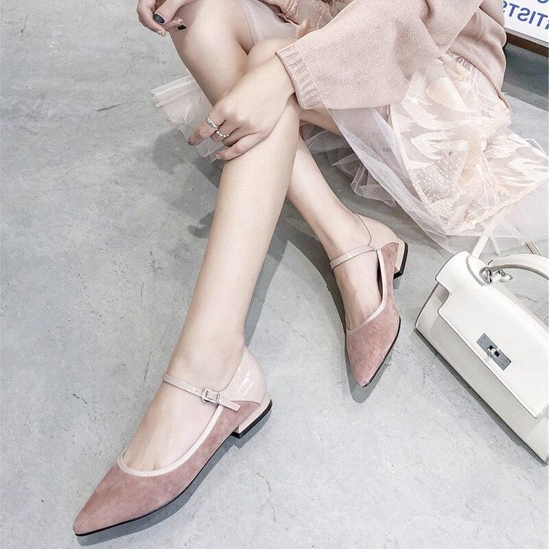 도나 인 플랫 메리 제인 여성 정품 가죽 지적 발가락 신발 우아한 편안한 숙녀 사무실 신발 핑크 블랙 그레이-에서여성용 플랫부터 신발 의  그룹 2
