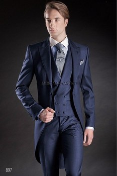 New Arrivals One Button Navy Blue Groom Tuxedos Peak Lapel Groomsmen Best Man Mens Wedding Suit (Jacket+Pants+Vest+Tie) W:132