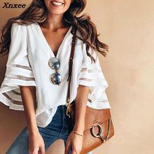 Xnxee Women V Neck Tops Short Sleeve Sweatshirt Pullover blusas T Shirt Tee