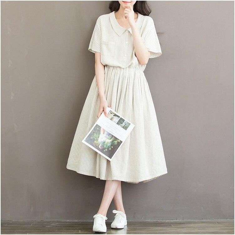 Summer Korean Linen Peter Pan Collar Striped T Shirt Dress Women Elastic Waist Casual Office Lady Clothes New Fashion Dresses