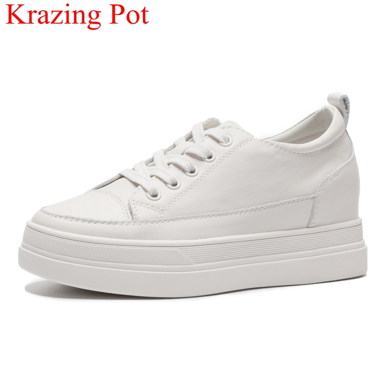 2019 New Arrival Cow Leather Platform Increase Women Casual Shoes Solid Sneaker Lace Up Round Toe White Vulcanized Shoes L91