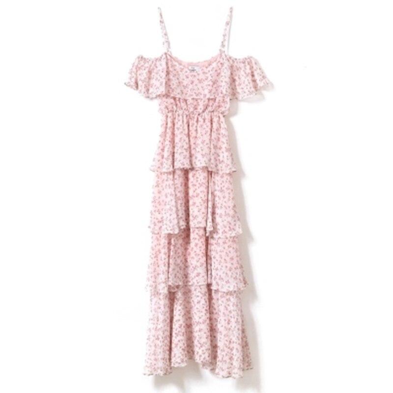 Printemps Mousseline Robe Nouveau Robes Femme 2018 Patchwork Taille Haute Été Bretelles Ruches Soie Xjj166 Mode Pink De Floral Encolure SrXSq