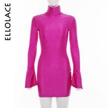 дешево!  Ellolace Turtlenekck Flare с длинным рукавом Розовые мини-облегающие платья Slim Fit Эластичные женщ Лучший!