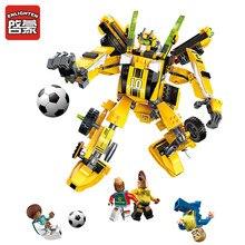 Blocos de Construção de Brinquedos de futebol 2 Em 1 Empilhamento Modelo de Robô Engraçado Brinquedos Blocos de construcao Rússia Bola Jogo blocos Brinquedos