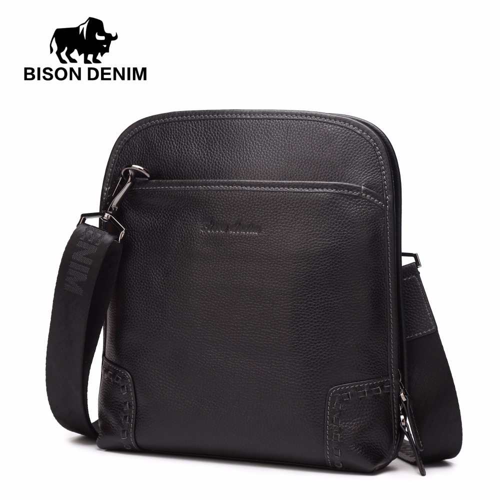 BISON DENIM Brand Genuine Leather Men Messenger Bag Casual Crossbody Bag Business Men's Zipper Bags for gift Shoulder Bags N2540