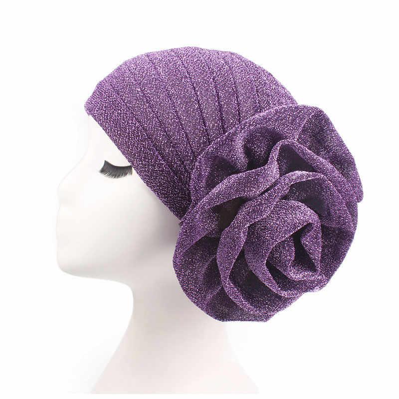 Женский яркий мусульманский Тюрбан Хиджаб индийская Кепка красный фиолетовый большой цветок головной убор Свадебная вечеринка выпадение волос головная резинка для волос аксессуары