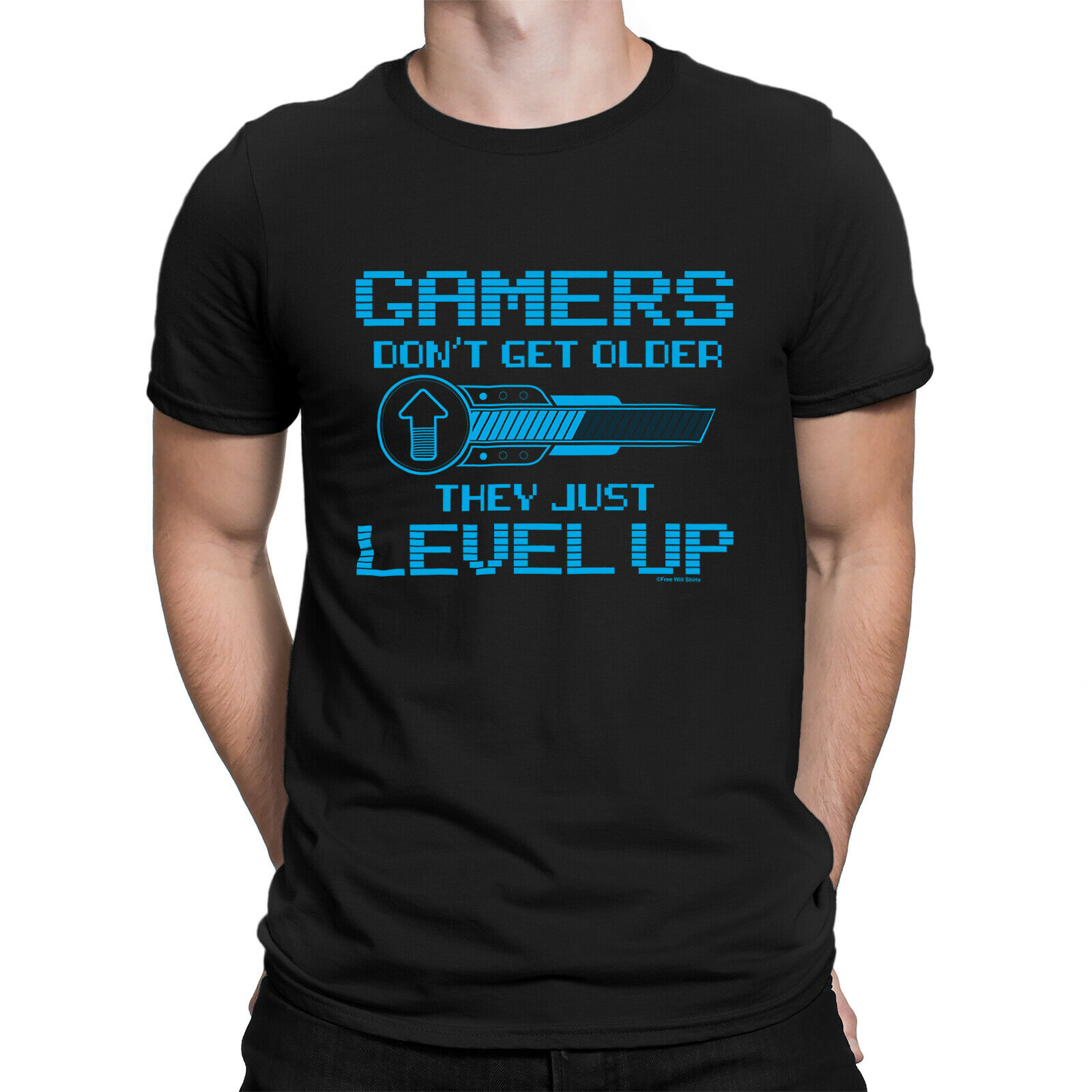 GAMERS LEVEL UP Mens Funny Gaming T-Shirt PS4 Xbox Console Retro Gamer Top Gift