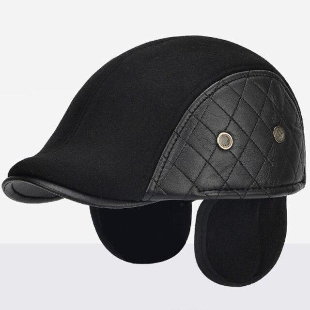 62b84ed730acd3 HT2058 Men Autumn Winter Hat with Ear Flap Elder Men Wool Beret Casual  Solid Leather Flat