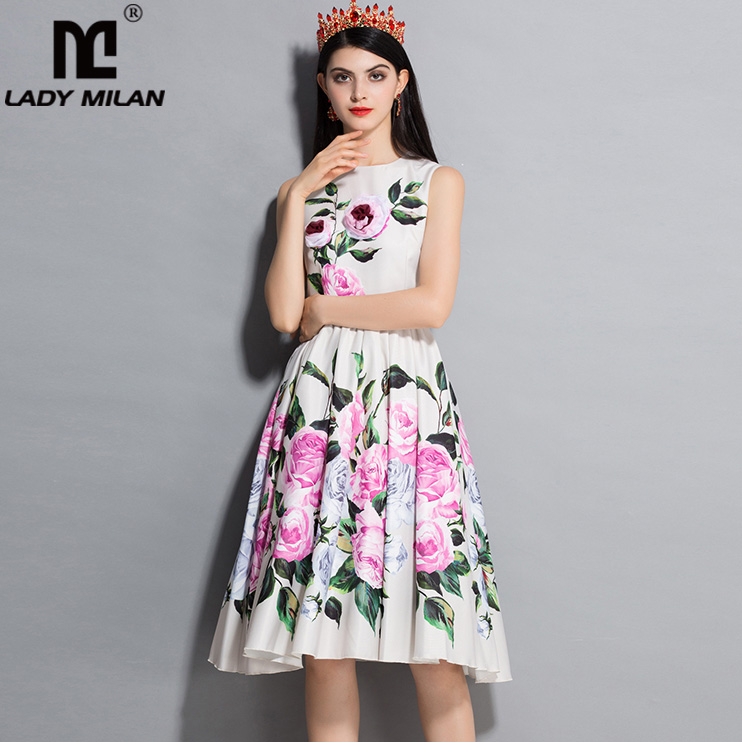 New Arrival 2018 Womens O Neck Sleeveless Floral Printed Ruched Fashion Casual Runway Dresses