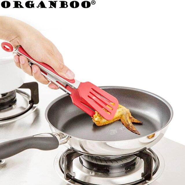 ORGANBOO Nylon + cibo in acciaio inox pinze pinze barbecue cottura della cucina