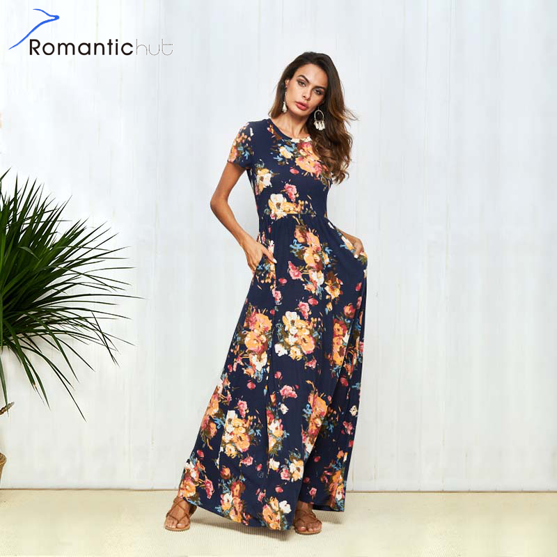 Boho Dress Short Sleeve Floral Print Long Dress Women Summer Pocket Elegant Dresses chic Rode Maxi Dress vestidos Beachwear 2018