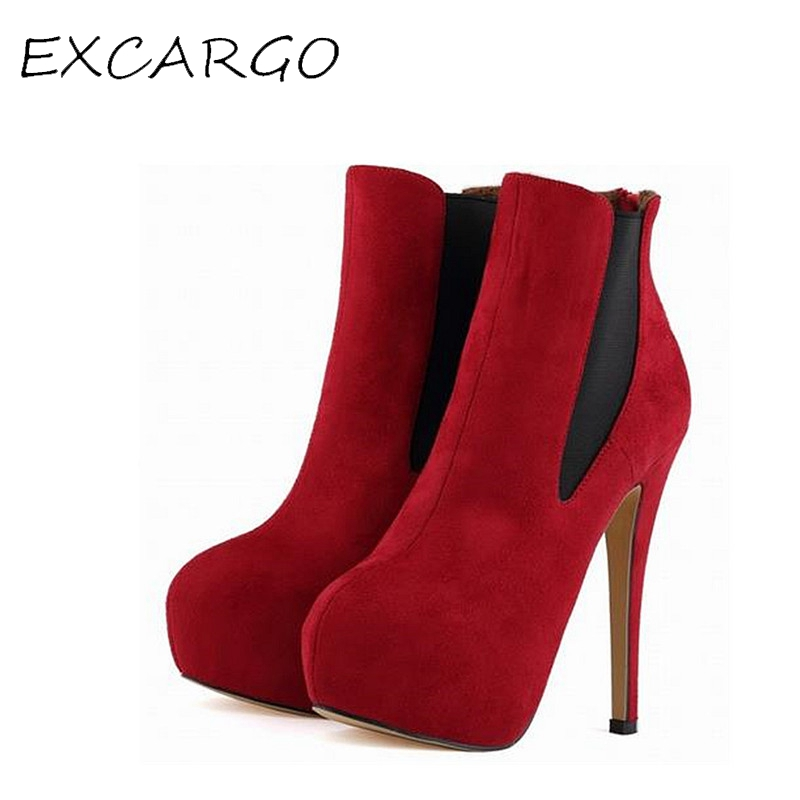 European And American Style Nightclub Suede Shoes Women High Heels Shoes 14 cm Ankle Boots Heels      Sexy Pumps