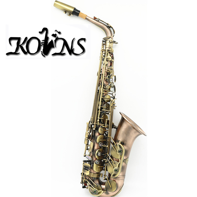NEW Professional Antique Copper Simulation Eb Alto Saxophone High F# With Case professional red antique alto saxophone sax high f engraving with case