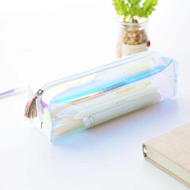 AAGU 1PC Plastic Tassel Pencil Bags Pencil Case Cute Pencil Pouch Stationery Case Pen Case School Supplies Girls Pen Bags