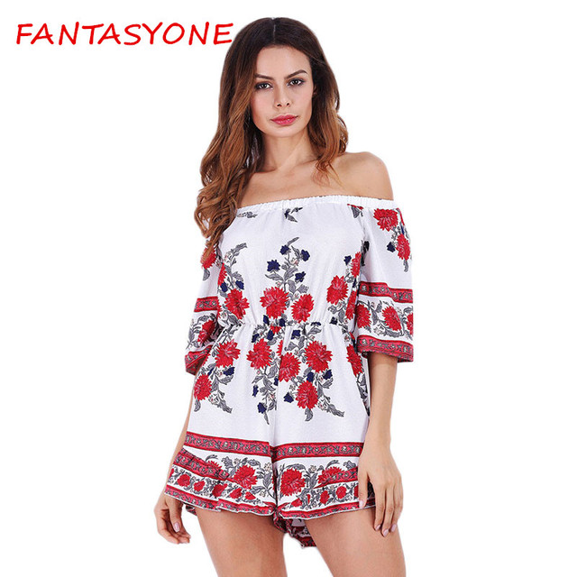 2179eccac9 FANTASYONE Boho Red Floral Print Ruffles Playsuits Women Elegant Summer  Loose Jumpsuits Rompers Sexy Beach Girls Short Overalls