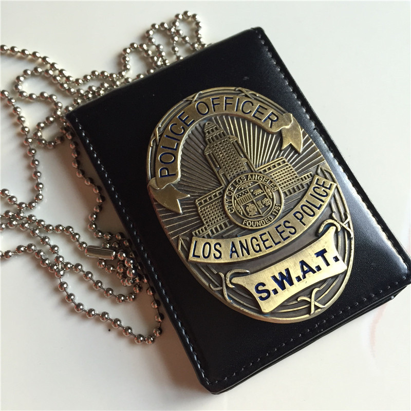 New 1pcs LA Police SWAT Officer Badges Card ID Cards Holder With Bead Chain  S1:1 Gift Cosplay Collectionn On Sale