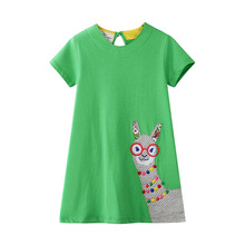 Baby Princess Dress for Kids Girl Summer Girls Dress Cartoon Animals Printed Girls Dresses Children Clothes Kids Floral Dress купить недорого в Москве