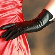 KLSS Brand Genuine Leather Women Gloves Fashion Elegant Lady Sheepskin Gloves High Quality Goatskin Glove Plus Velvet 860