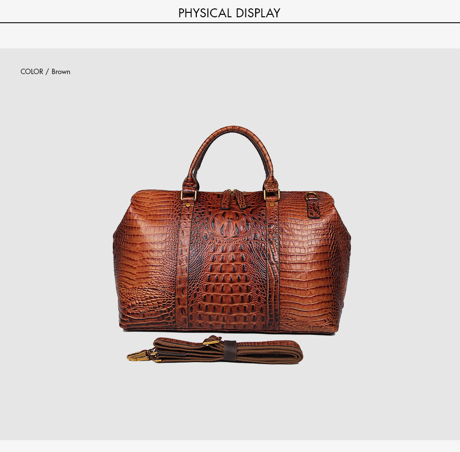 Womens Travel Bags Genuine Cowhide Leather Crocodile Pattern Vintage Large Capacity Mens Luggage Handbags