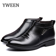 YWEEN Waterproof Boots Men Winter Plush Leather Comfortable Warm Snow For