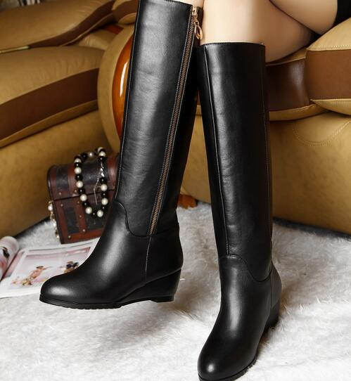Women Winter Wedges Genuine Leather Round Toe Side Zipper Fashion Knee High Knight Boots Plus Size 33-45 SXQ1007 women winter genuine leather thick high heel side zipper round toe fashion mid half boots plus size 34 45 sxq1007