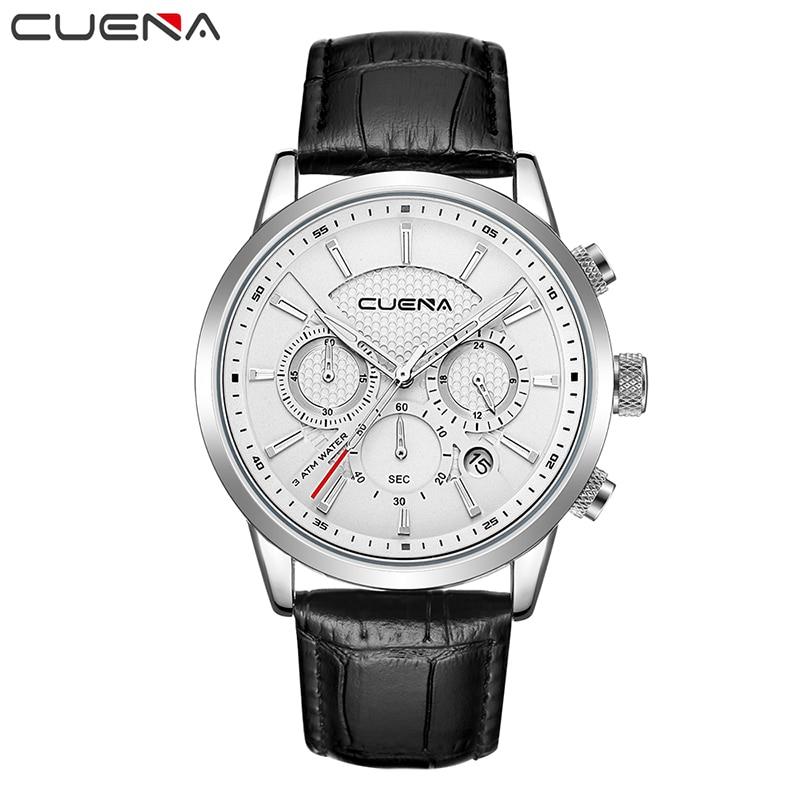 все цены на CUENA Brand Men's Watch Genuine Leather Fashion Watches Waterproof Watch Men Watch Auto Date Clock kol saati relogio masculino онлайн