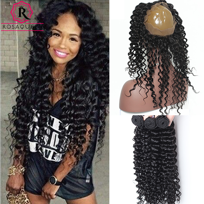 ФОТО 360 Lace Frontal With Bundle 7A Peruvian Virgin Hair Deep Wave Curly 360 Frontal With Bundles Lace Frontal Closure With Bundles