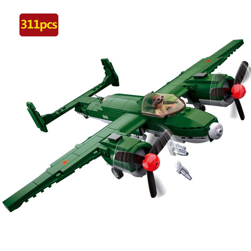 311pcs World War II military series world war Russia <font><b>Tupolev</b></font> Tu-2 Bomber model Building Blocks For Children Christmas Gifts image