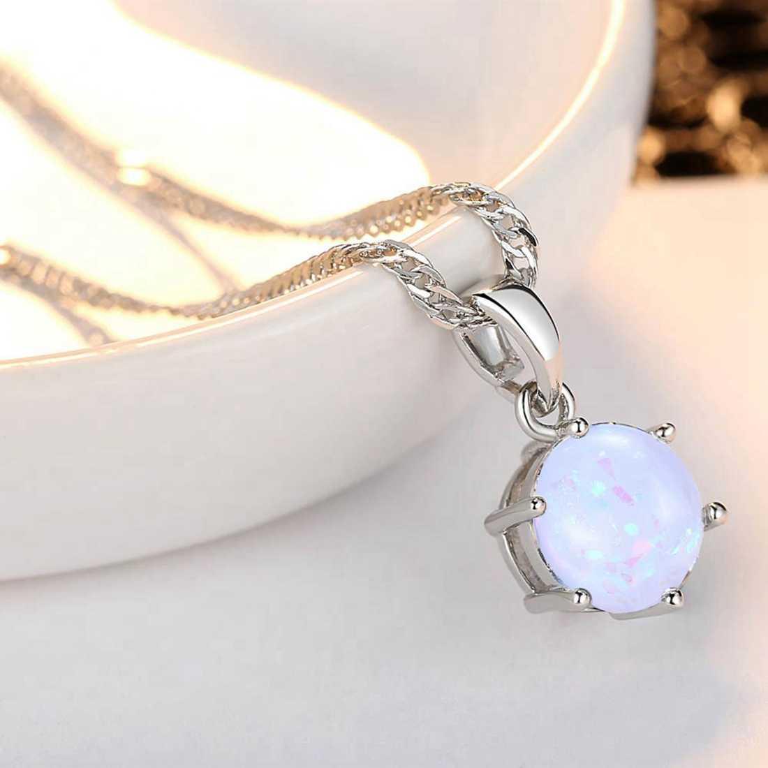 Beiver Bộ Trang Sức Opal Nữ Hình Tròn Mặt Dây Chuyền Nhẫn Thời Trang Màu Bạc Dây Chuyền Bông Tai Vòng Bộ Tiệc Cưới Trang Sức