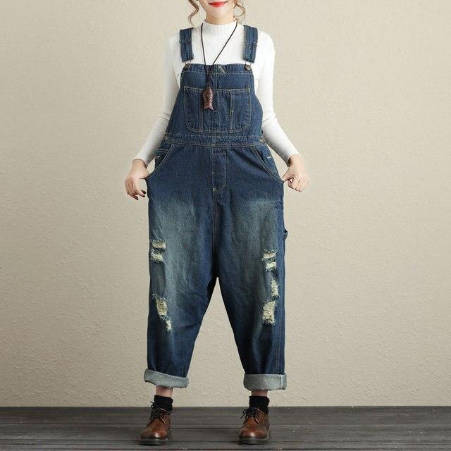 cf7ed372dd9 Women s denim bib overalls Hip-Hop hole ripped Wide leg pants Oversized jeans  Jumpsuit Low