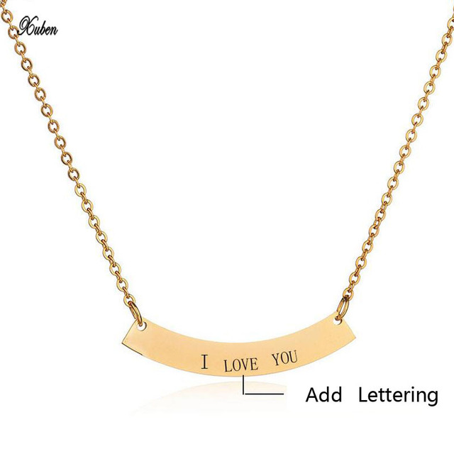 Us 4 89 30 Off Xuben Design Jewelry Bar Necklace Engraved Stainless Steel Pendant Personalized Necklaces Custom Made With Any Name Or Number In