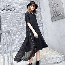 [Aiweier] New Women Pleated Chiffon Dress Woman Short Sleeve Zipper Irregular Dress Black Casual Round Neck Loose Streetwear