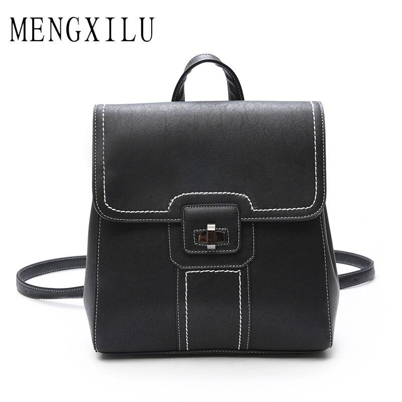 MENGXILU High Quality PU Leather Backpacks for Teenage Girls Female School Shoulder Bag Pack Mochila 2017 Fashion Women Backpack