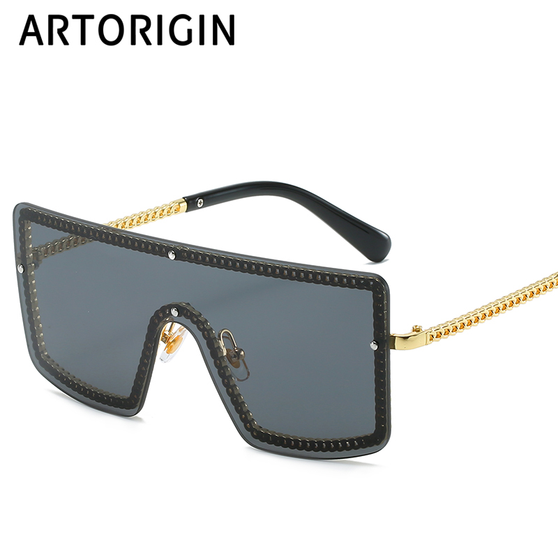 One Lens Sunglasses Women Rectangle Large Frames Goggles Rimless Brand Designe Sun Glasses For Women Lunettes Oculso