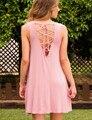 Bonito new style verão mulheres voltar lace up dress 2016 rosa sólida sem mangas o pescoço backless balanço solto mini dress vestidos