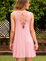 Cute New Style Summer Women Back Lace Up Dress 2016 Solid Pink Sleeveless O-neck Backless Swing Loose Mini Dress Vestidos