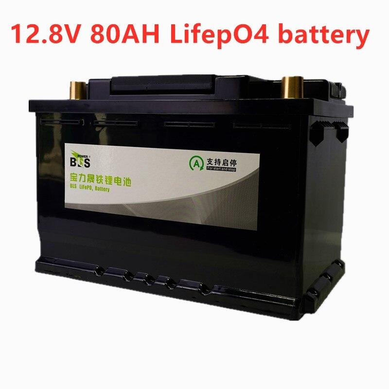BLS 12V 80AH lifepo4 batterie BMS 4S 12.8V cycle profond longue durée libre BMS lithium fer Phosphate RV bateau onduleur moniteur RV
