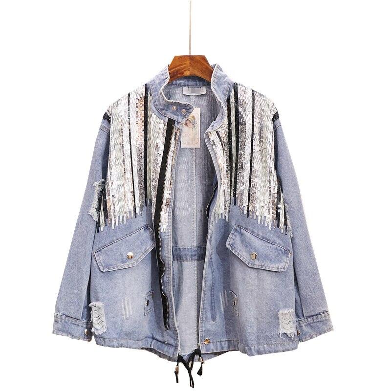 Spring Sequin Denim Jacket Loose All Match Jeans Jacket Women Handmade Sequins Tassel Jeans Coat