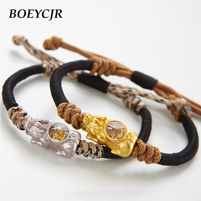BOEYCJR Novel Gold Color Rotating windmill Lucky Brave Troops Pixiu Braided Rope Energy Bangles & Bracelets for Men woman 2019