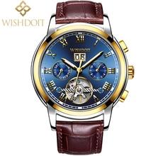 WISHDOIT Men Watches Automatic Mechanical Watch Tourbillon Sport Clock Leather Casual Business Retro Wristwatch Relojes Hombre