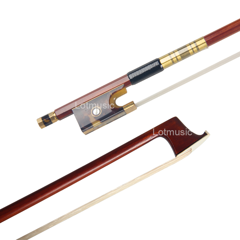 Brazil Sandalwood 4/4 Violin Bow Stick Hawksbill Frog Horsehair Gold Plated 10pcs new size violin bow genuine mongolian horsehair brazilwood violin parts