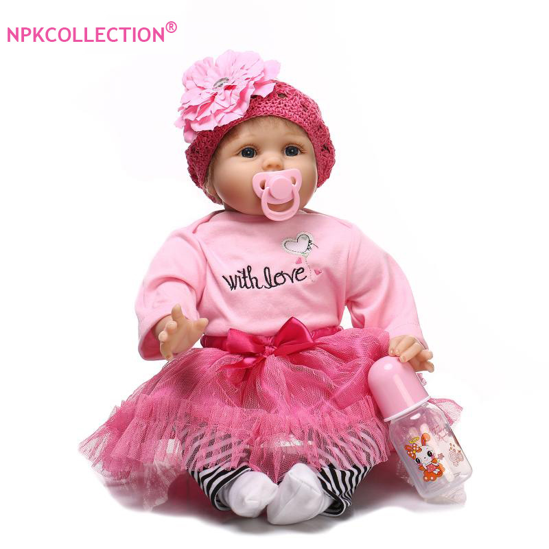 Hot Sale 22 Very Soft Lifelike Silicone Reborn Baby Girl Dolls 55cm Realistic Newborn Babies Doll Blue Eyes Toys As Girls Gift