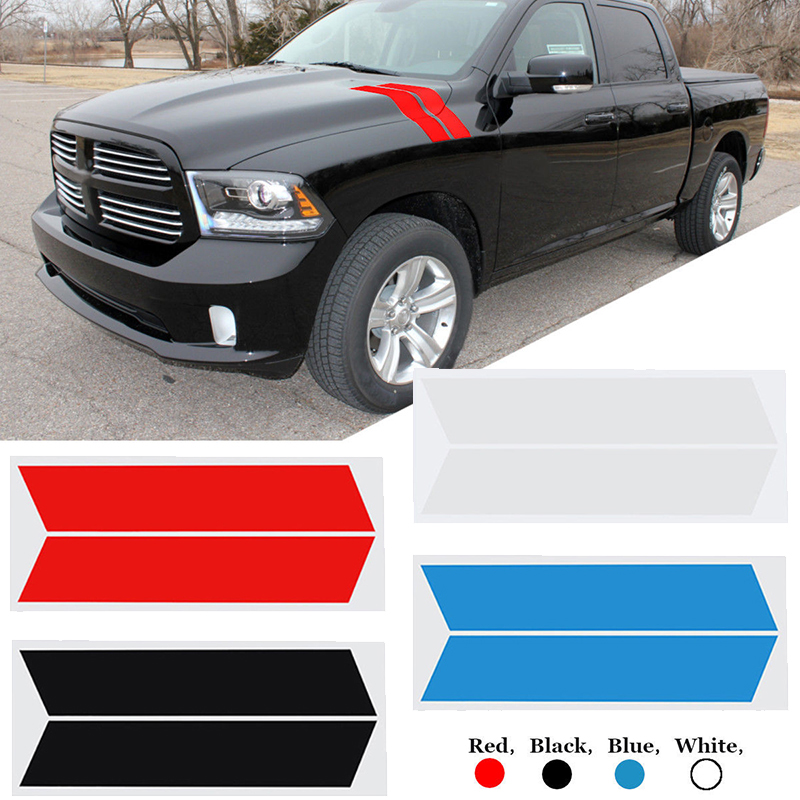 Image 5 - 1 Pair Of Stripe Car Stickers Decal Sticker For Dodge Ram Ford Fender Mark-in Lamp Hoods from Automobiles & Motorcycles