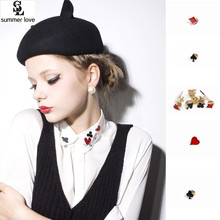 New Brooches Broche 4 Styles Personalized Poker Brooch Pin Women Clip For Scarf Clubs Hearts Spades For Shirt Collar